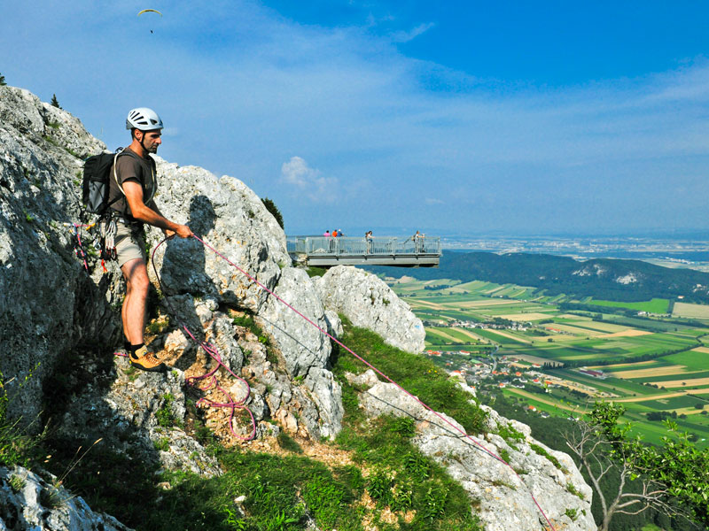Hohe Wand Hiker Meets Summit Mountains In Lower Austria